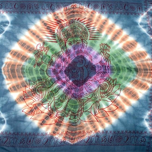 〔195cm*100cm〕ガネーシャ&ヒンドゥー神様のタイダイサイケデリック布 - ダークグレー×紫×緑×オレンジ系の写真