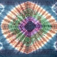 〔195cm*100cm〕ガネーシャ&ヒンドゥー神様のタイダイサイケデリック布 - ダークグレー×紫×緑×オレンジ系