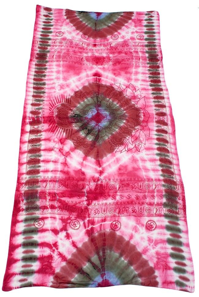 〔195cm*100cm〕ガネーシャ&ヒンドゥー神様のタイダイサイケデリック布 - ピンク×紫×緑×小豆系の写真2 - 全体写真です。とても大きな布なのでソファーカバーなどのインテリアファブリックへ。