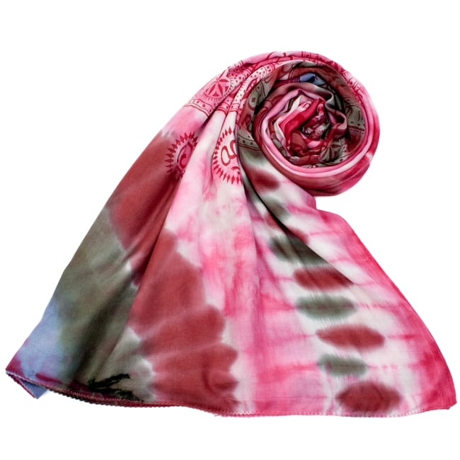 〔195cm*100cm〕ガネーシャ&ヒンドゥー神様のタイダイサイケデリック布 - ピンク×紫×緑×小豆系の写真7 - ストールやショールへもオススメ
