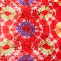 〔195cm*100cm〕ガネーシャ&ヒンドゥー神様のタイダイサイケデリック布 - 赤×黄緑×紫×黄色系