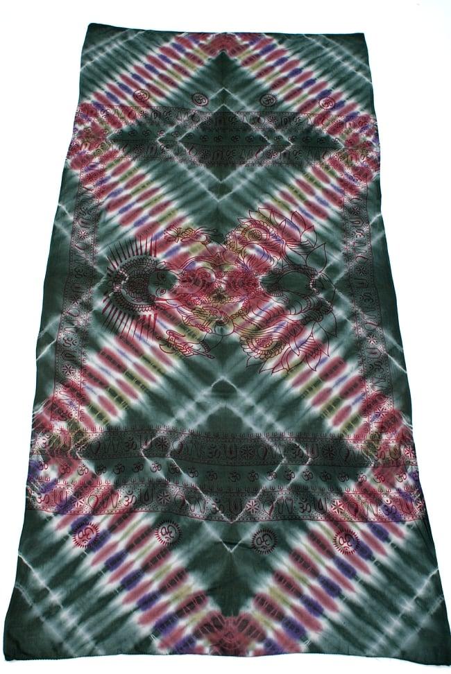 〔195cm*100cm〕ガネーシャ&ヒンドゥー神様のタイダイサイケデリック布 - 濃緑×小豆×紫系 2 - 全体写真です。とても大きな布なのでソファーカバーなどのインテリアファブリックへ。
