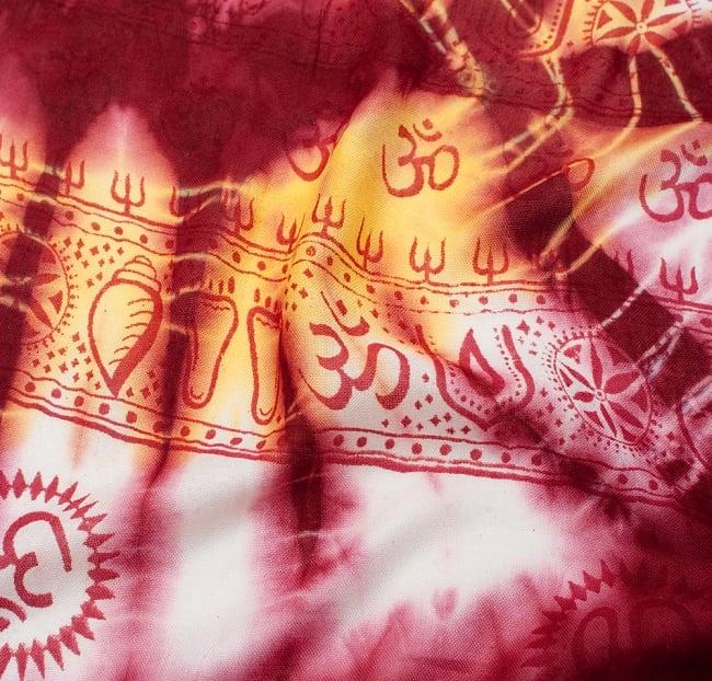 〔195cm*100cm〕ガネーシャ&ヒンドゥー神様のタイダイサイケデリック布 - 小豆×水色×黄色系の写真3 - 拡大写真です