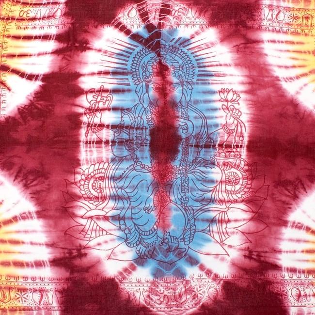 〔195cm*100cm〕ガネーシャ&ヒンドゥー神様のタイダイサイケデリック布 - 小豆×水色×黄色系の写真