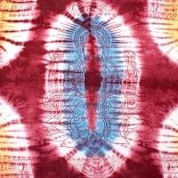 〔195cm*100cm〕ガネーシャ&ヒンドゥー神様のタイダイサイケデリック布 - 小豆×水色×黄色系