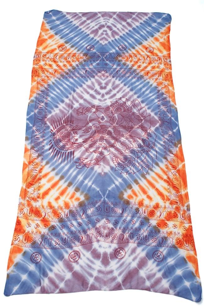 〔195cm*100cm〕ガネーシャ&ヒンドゥー神様のタイダイサイケデリック布 - 薄青紫×オレンジ×薄小豆系 2 - 全体写真です。とても大きな布なのでソファーカバーなどのインテリアファブリックへ。