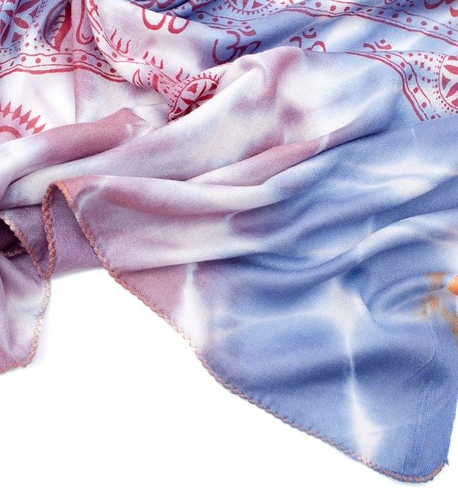 〔195cm*100cm〕ガネーシャ&ヒンドゥー神様のタイダイサイケデリック布 - 薄青紫×オレンジ×薄小豆系 5 - フチの写真です