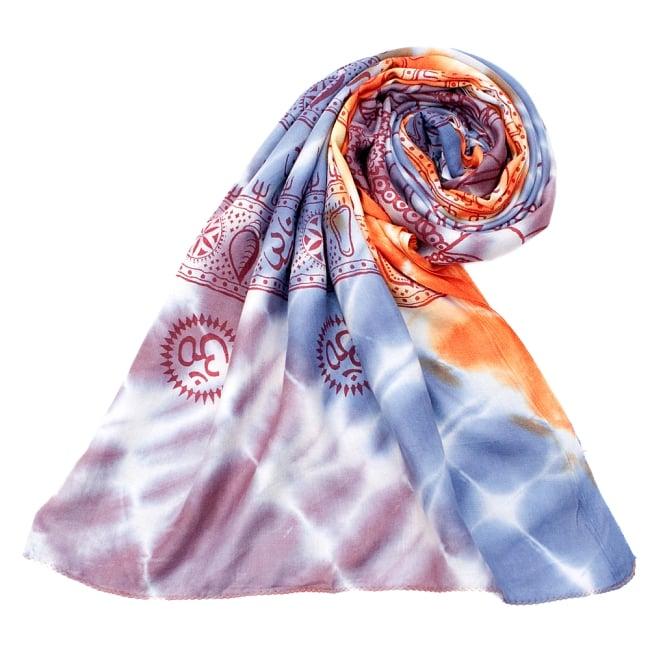 〔195cm*100cm〕ガネーシャ&ヒンドゥー神様のタイダイサイケデリック布 - 薄青紫×オレンジ×薄小豆系 7 - ストールやショールへもオススメ