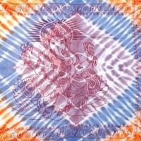〔195cm*100cm〕ガネーシャ&ヒンドゥー神様のタイダイサイケデリック布 - 薄青紫×オレンジ×薄小豆系