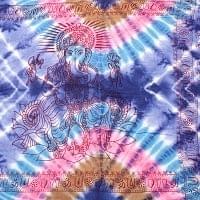 〔195cm*100cm〕ガネーシャ&ヒンドゥー神様のタイダイサイケデリック布 - 紫×水色×ピンク×茶色系
