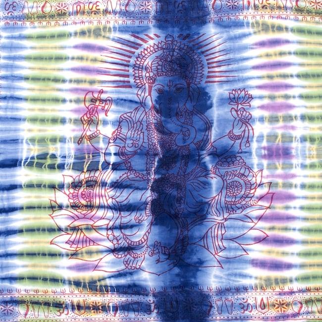 〔195cm*100cm〕ガネーシャ&ヒンドゥー神様のタイダイサイケデリック布 - 青紫×紫×黄緑×黄色系の写真