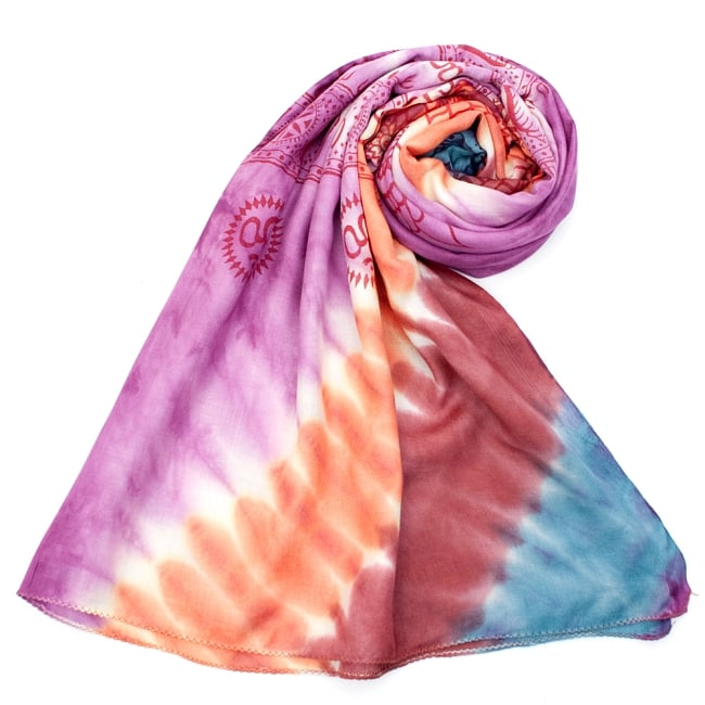 〔195cm*100cm〕ガネーシャ&ヒンドゥー神様のタイダイサイケデリック布 - 紫×オレンジ×赤茶×水色系の写真7 - ストールやショールへもオススメ