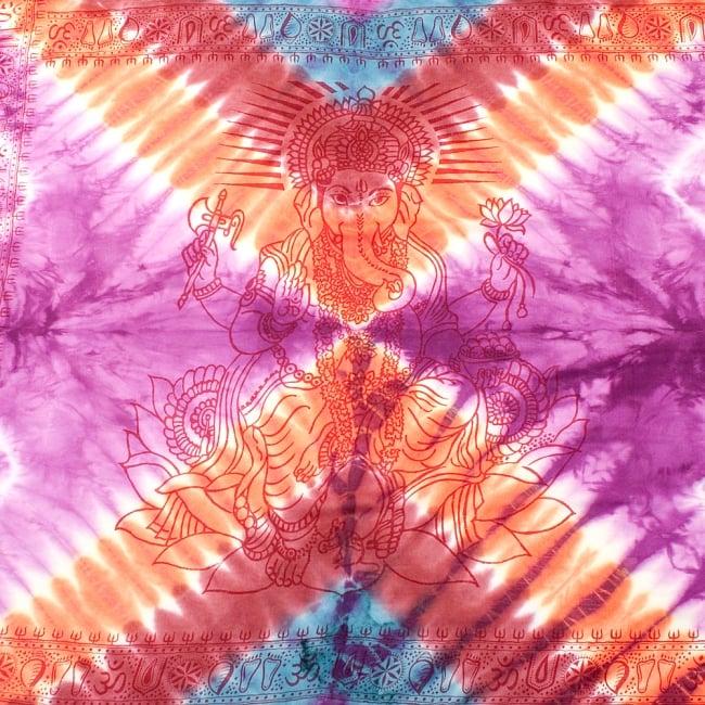 〔195cm*100cm〕ガネーシャ&ヒンドゥー神様のタイダイサイケデリック布 - 紫×オレンジ×赤茶×水色系の写真