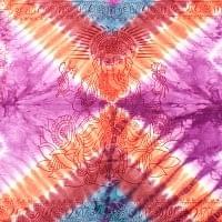 〔195cm*100cm〕ガネーシャ&ヒンドゥー神様のタイダイサイケデリック布 - 紫×オレンジ×赤茶×水色系