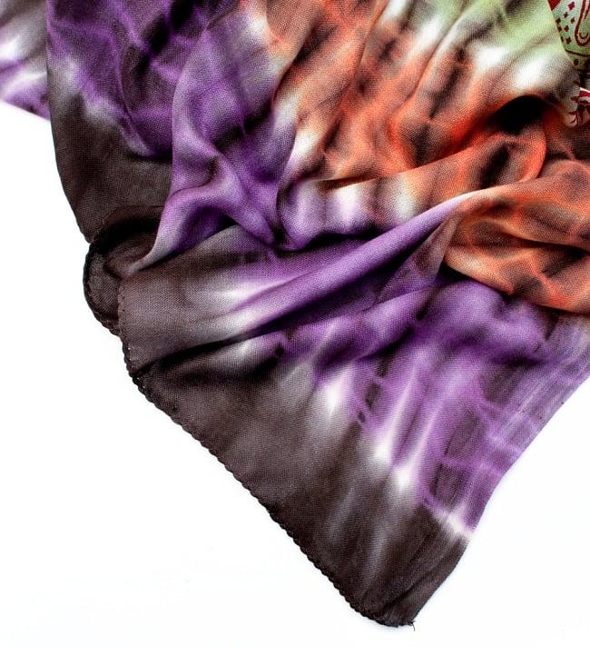 〔195cm*100cm〕ガネーシャ&ヒンドゥー神様のタイダイサイケデリック布 - 黒×紫×オレンジ×緑系の写真5 - フチの写真です