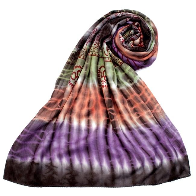 〔195cm*100cm〕ガネーシャ&ヒンドゥー神様のタイダイサイケデリック布 - 黒×紫×オレンジ×緑系の写真7 - ストールやショールへもオススメ