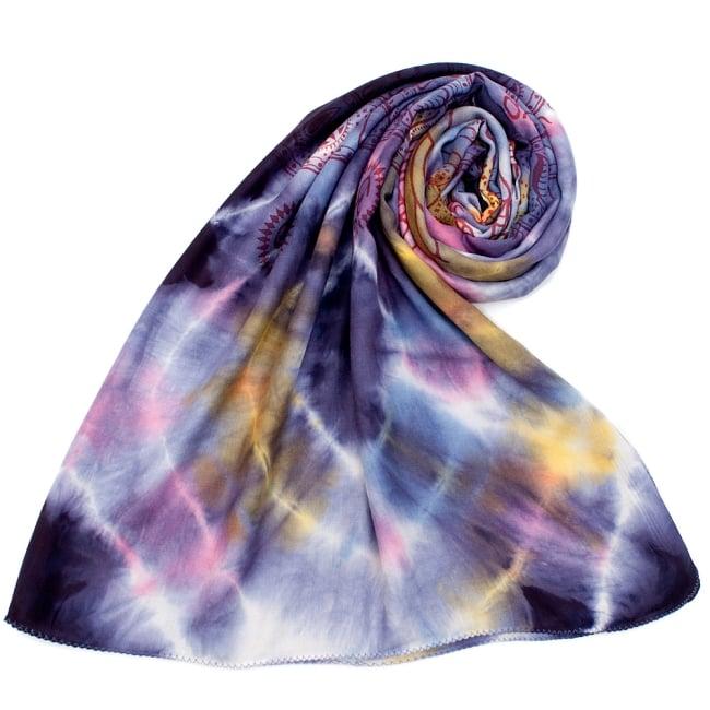〔195cm*100cm〕ガネーシャ&ヒンドゥー神様のタイダイサイケデリック布 - 紫×黄×ピンク×水色系の写真7 - ストールやショールへもオススメ