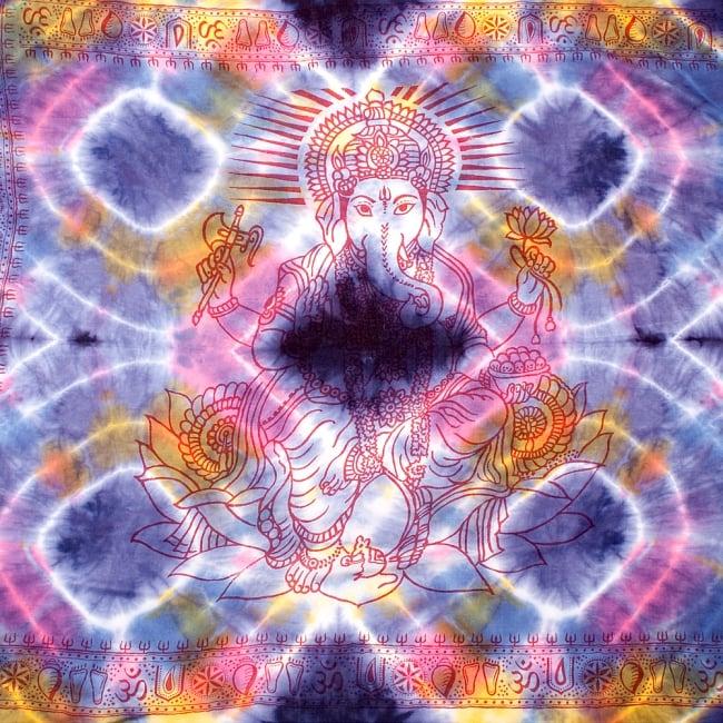〔195cm*100cm〕ガネーシャ&ヒンドゥー神様のタイダイサイケデリック布 - 紫×黄×ピンク×水色系の写真