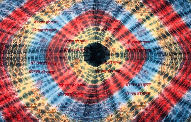 〔195cm*100cm〕ガネーシャ&ヒンドゥー神様のタイダイサイケデリック布 - 黄×赤×水色×黒系 9 - こちらは【選択:B】神様やオーン柄アソートの例になります。