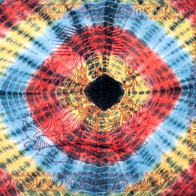 〔195cm*100cm〕ガネーシャ&ヒンドゥー神様のタイダイサイケデリック布 - 黄×赤×水色×黒系の写真
