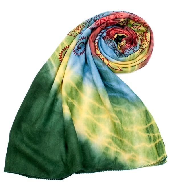 〔195cm*100cm〕ガネーシャ&ヒンドゥー神様のタイダイサイケデリック布 - 黄×水色×緑×赤×緑系の写真7 - ストールやショールへもオススメ