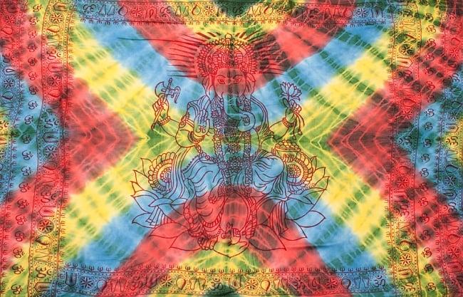 〔195cm*100cm〕ガネーシャ&ヒンドゥー神様のタイダイサイケデリック布 - 黄×水色×緑×赤×緑系の写真8 - 【選択:A】の写真です。このように中心にガネーシャ柄が入っています。