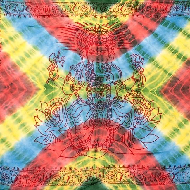 〔195cm*100cm〕ガネーシャ&ヒンドゥー神様のタイダイサイケデリック布 - 黄×水色×緑×赤×緑系の写真