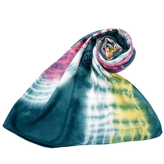 〔195cm*100cm〕ガネーシャ&ヒンドゥー神様のタイダイサイケデリック布 - 青緑×ピンク×黄色系の写真7 - ストールやショールへもオススメ