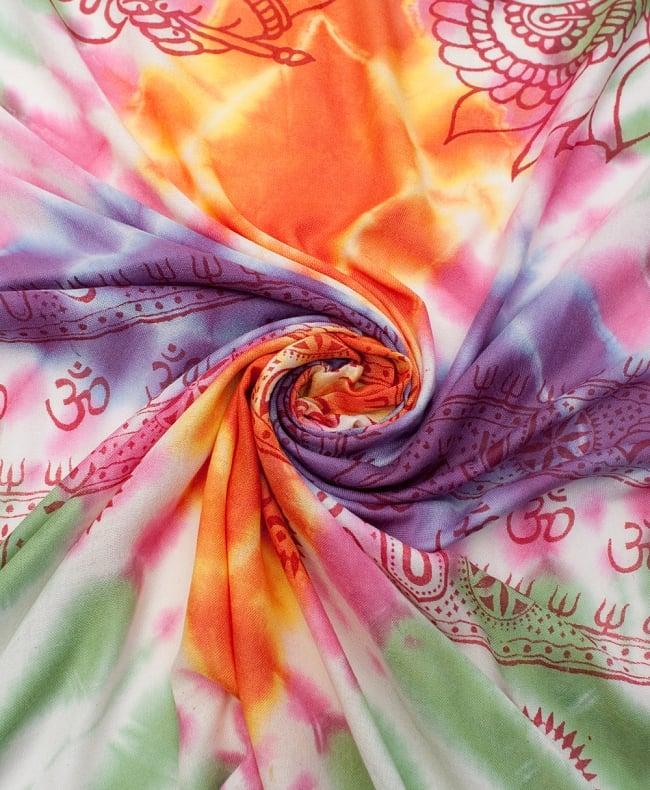 〔195cm*100cm〕ガネーシャ&ヒンドゥー神様のタイダイサイケデリック布 - 緑×オレンジ×紫×ピンク系の写真4 - タイダイ特有の色合いがとても綺麗です