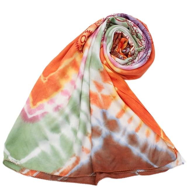〔195cm*100cm〕ガネーシャ&ヒンドゥー神様のタイダイサイケデリック布 - 緑×オレンジ×紫×ピンク系の写真7 - ストールやショールへもオススメ