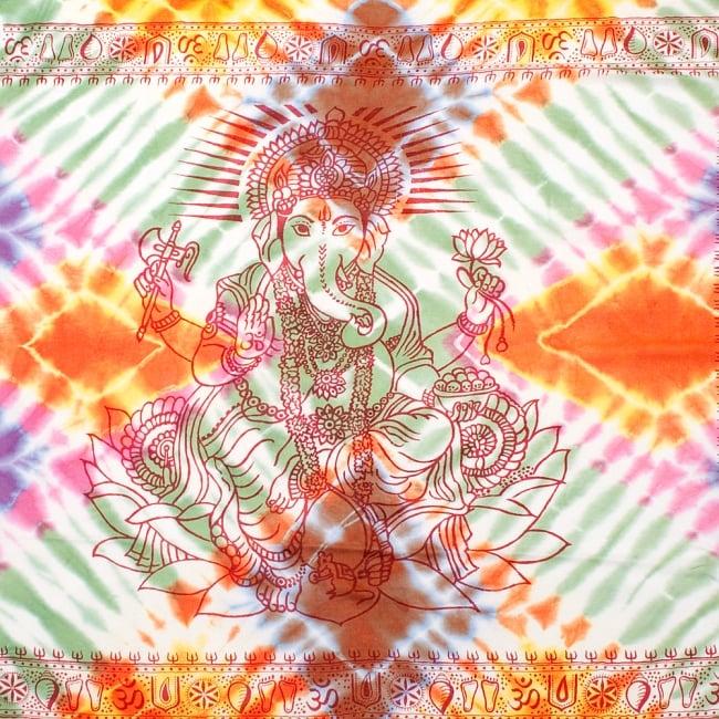 〔195cm*100cm〕ガネーシャ&ヒンドゥー神様のタイダイサイケデリック布 - 緑×オレンジ×紫×ピンク系の写真