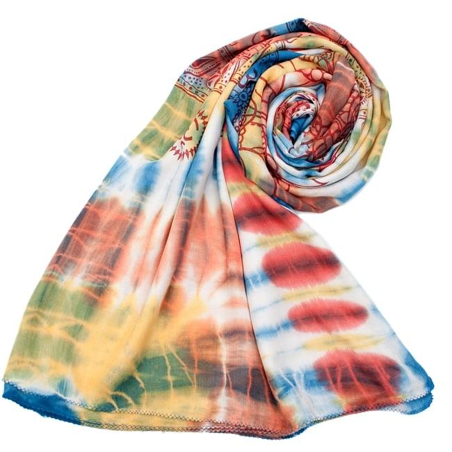 〔195cm*100cm〕ガネーシャ&ヒンドゥー神様のタイダイサイケデリック布 - 青×黄×オレンジ系の写真7 - ストールやショールへもオススメ