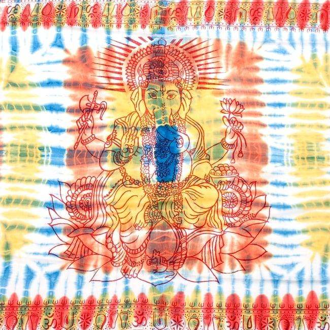 〔195cm*100cm〕ガネーシャ&ヒンドゥー神様のタイダイサイケデリック布 - 青×黄×オレンジ系の写真