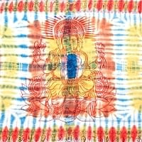 〔195cm*100cm〕ガネーシャ&ヒンドゥー神様のタイダイサイケデリック布 - 青×黄×オレンジ系