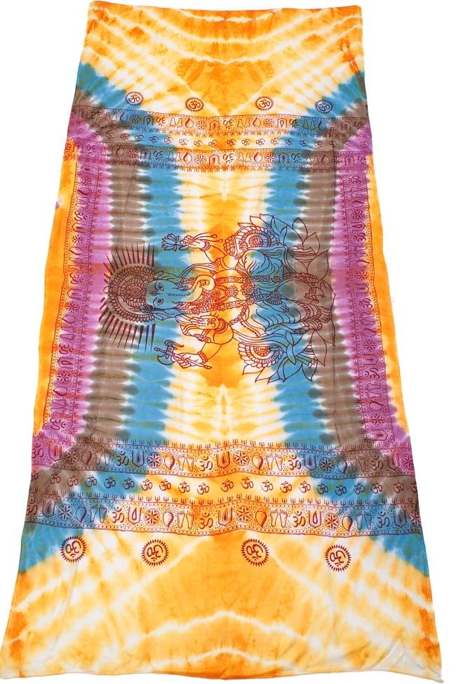 〔195cm*100cm〕ガネーシャ&ヒンドゥー神様のタイダイサイケデリック布 - 黄×水色×茶緑×紫系の写真2 - 全体写真です。とても大きな布なのでソファーカバーなどのインテリアファブリックへ。