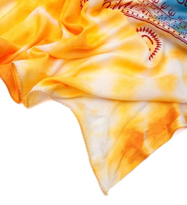 〔195cm*100cm〕ガネーシャ&ヒンドゥー神様のタイダイサイケデリック布 - 黄×水色×茶緑×紫系の写真5 - フチの写真です