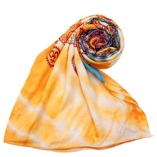 〔195cm*100cm〕ガネーシャ&ヒンドゥー神様のタイダイサイケデリック布 - 黄×水色×茶緑×紫系の写真7 - ストールやショールへもオススメ