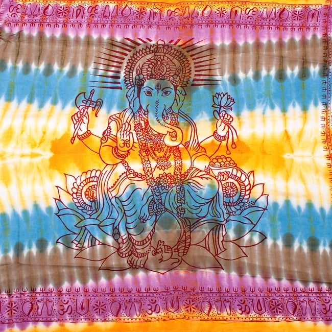 〔195cm*100cm〕ガネーシャ&ヒンドゥー神様のタイダイサイケデリック布 - 黄×水色×茶緑×紫系の写真
