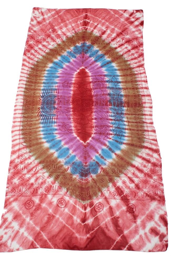 〔195cm*100cm〕ガネーシャ&ヒンドゥー神様のタイダイサイケデリック布 - 赤×紫×青×緑系 2 - 全体写真です。とても大きな布なのでソファーカバーなどのインテリアファブリックへ。