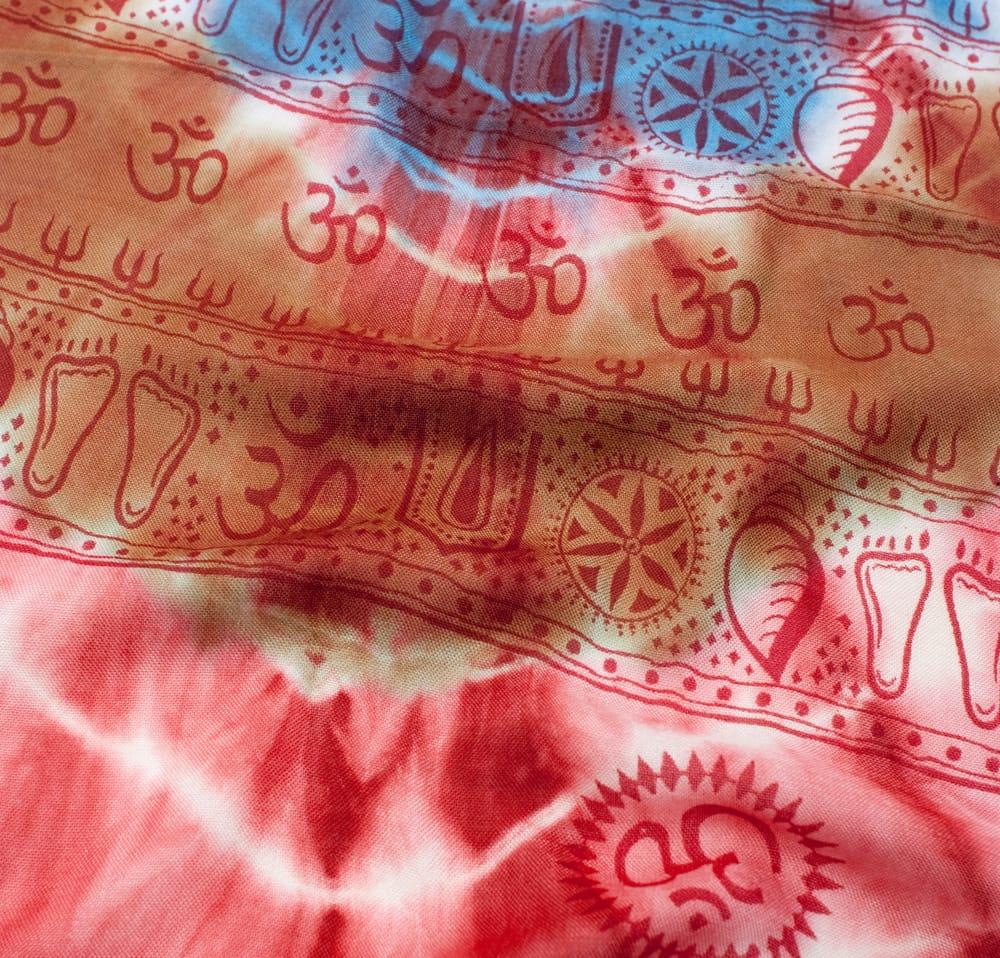 〔195cm*100cm〕ガネーシャ&ヒンドゥー神様のタイダイサイケデリック布 - 赤×紫×青×緑系 3 - 拡大写真です