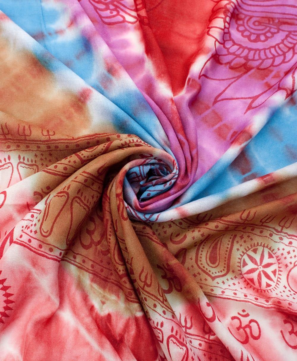 〔195cm*100cm〕ガネーシャ&ヒンドゥー神様のタイダイサイケデリック布 - 赤×紫×青×緑系 4 - タイダイ特有の色合いがとても綺麗です