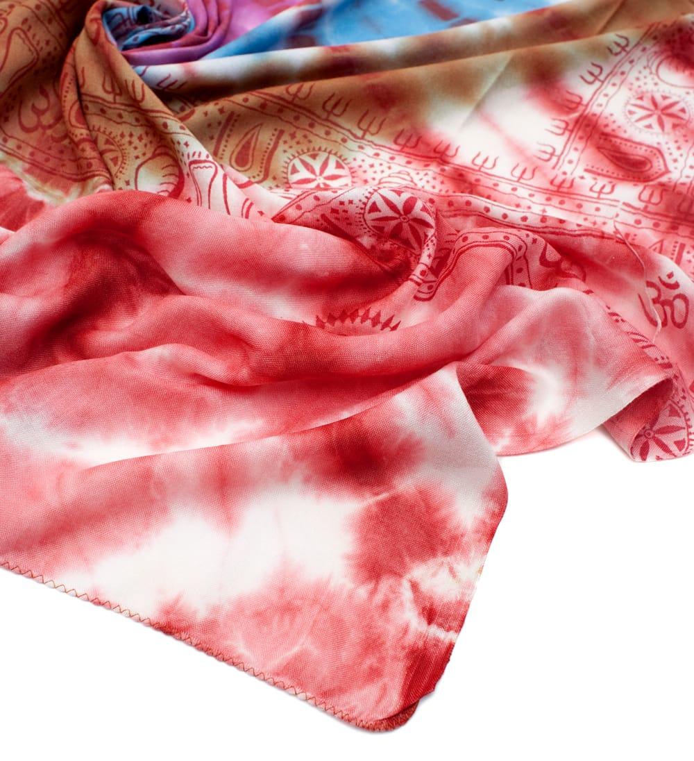 〔195cm*100cm〕ガネーシャ&ヒンドゥー神様のタイダイサイケデリック布 - 赤×紫×青×緑系 5 - フチの写真です