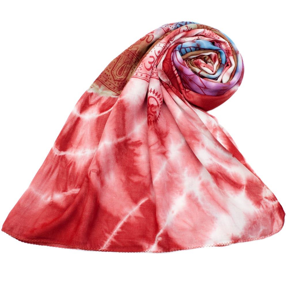 〔195cm*100cm〕ガネーシャ&ヒンドゥー神様のタイダイサイケデリック布 - 赤×紫×青×緑系 7 - ストールやショールへもオススメ