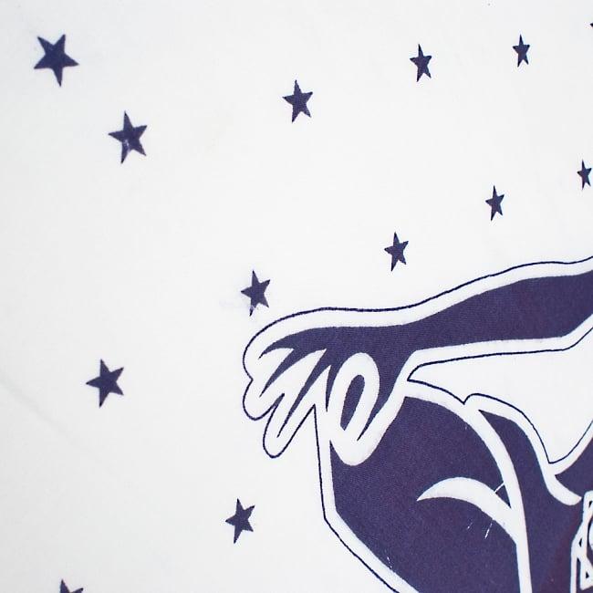 〔205cm*100cm〕チャクラチャートのエスニック布 - ホワイト 3 - 周りには星が散りばめられとても素敵な雰囲気です