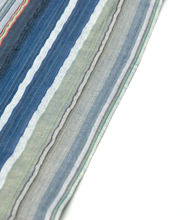 〔1m切り売り〕ボーダー柄のエスニック生地 - 青グレー系〔幅110cm〕の写真4 - 端を撮影しました。