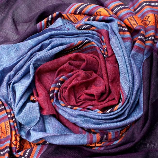 ベトナム ターイ族の伝統手織りスカーフ・デコレーション布(切りっぱなし) 3 - 色合いもとっても綺麗です。