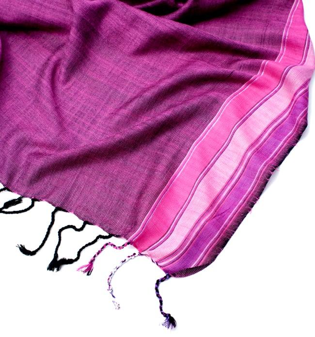 〔170cm×53cm〕ボーダーストール- ピンク×紫系の写真6 - 縁の拡大写真です