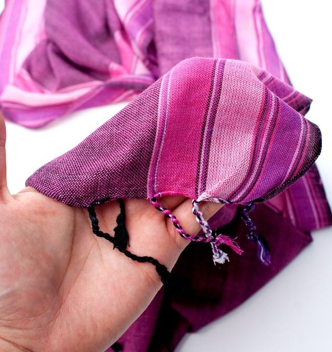 〔170cm×53cm〕ボーダーストール- ピンク×紫系の写真7 - このような質感になります