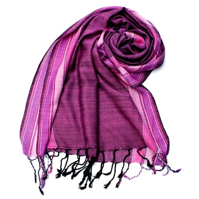 〔170cm×53cm〕ボーダーストール- ピンク×紫系の写真
