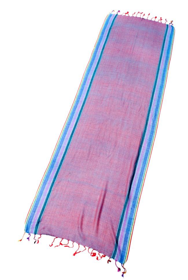〔170cm×53cm〕ボーダーストール- オレンジ×紫×黄色系の写真2 - 全体写真です